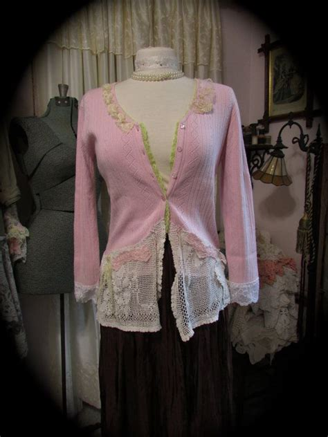 Shabby Sweater 1 shabby pink sweater lace doily sweater embellished womens altered clothing shabby