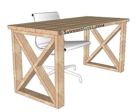 X Leg Office Desk Sawdust Girl 174 Desk Plans