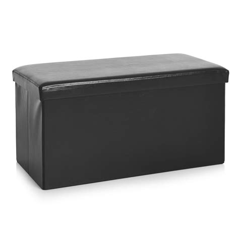 Black Leather Ottoman With Storage Wilko Faux Leather Storage Ottoman Black At Wilko