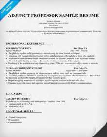 College Instructor Resume resume exle for adjunct professor resumecompanion list teaching