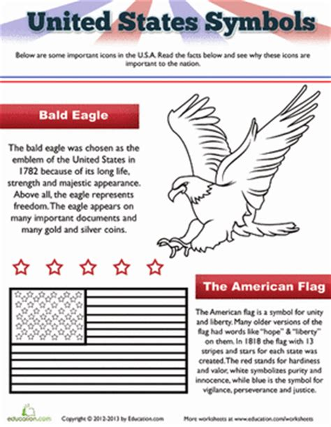 An American Worksheet The American Flag And Eagle Worksheet Education