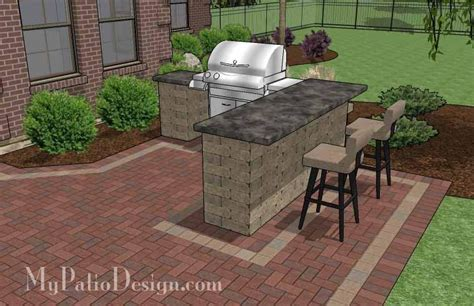 Patio Grill Designs Large Brick Patio Design With Grill Station Bar Downloadable Plan Mypatiodesign