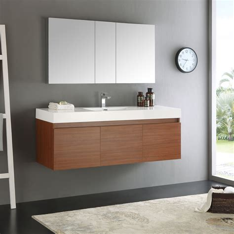 wall hung vanity cabinets fresca mezzo 60 quot teak wall hung single sink modern