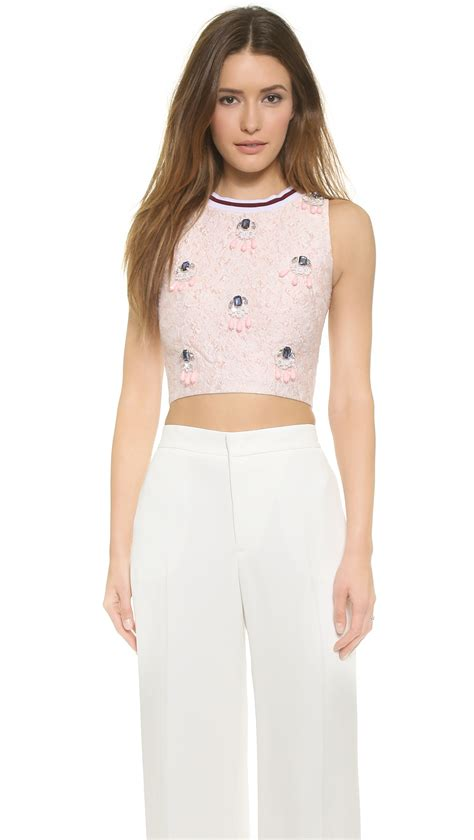 Light Pink Top by Of Pearl Morley Embellished Crop Top Light Pink