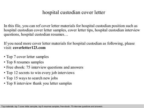 custodian cover letter sle hospital custodian cover letter