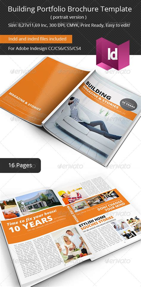 Building Portfolio Brochure Template Graphicriver Construction Portfolio Template