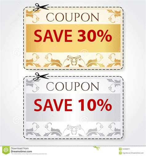 sale coupon tag cut off template gold pattern stock