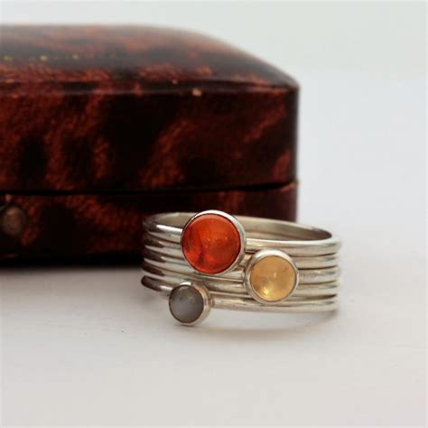 Handmade Silver Rings With Gemstones - gemstone stacking ring set pretty