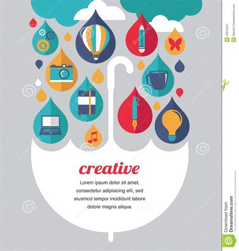 idea plans creative umbrella idea and design concept stock vector