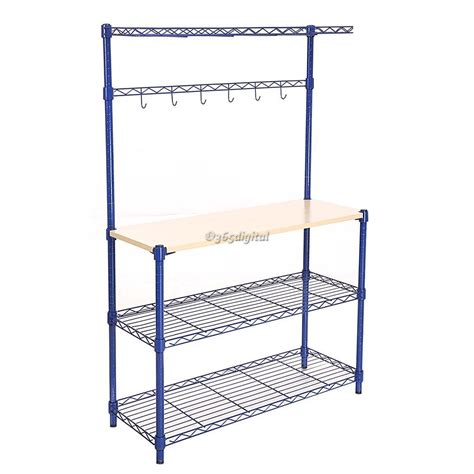 Modern Kitchen 4 Tier Rack Wire Shelving Shelf Wood Board Wire Rack Shelving