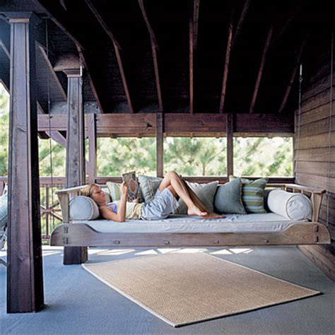 outdoor swinging bed dishfunctional designs this ain t yer grandma s porch