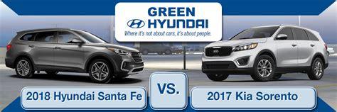 Compare Kia Sorento And Hyundai Santa Fe by 2018 Hyundai Santa Fe Sport Vs 2018 Kia Sorento