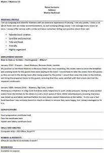 Exles Of Waitress Resume by Waiter Waitress Cv Exles Forums Learnist Org