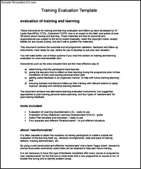 training evaluation template pdf sle templates