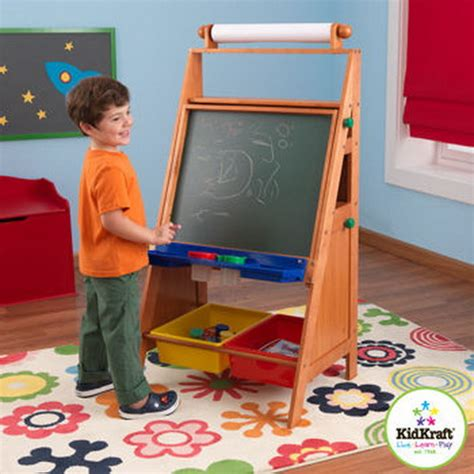 easel for toddlers new kids wood art easel with paper roll chalk dry erase board desk kidkraft ebay