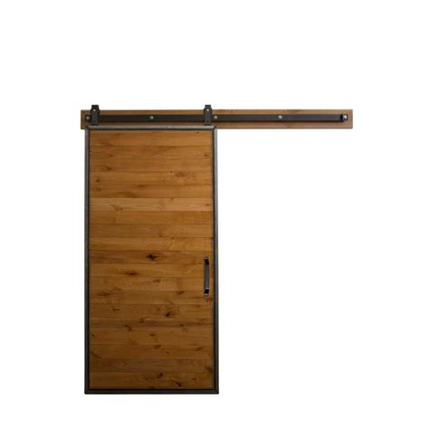 Sliding Barn Door Hardware Home Depot Rustica Hardware 36 In X 84 In Mountain Modern Clear Wood Barn Door With Mountain Modern