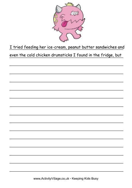 pink monster story starter monster printables for kids