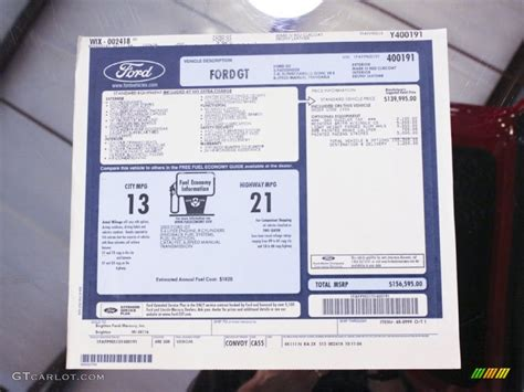 Ford Window Sticker by Ford Gt Window Sticker