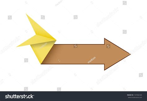 Origami Style - the blank origami style arrow in yellow and brown color
