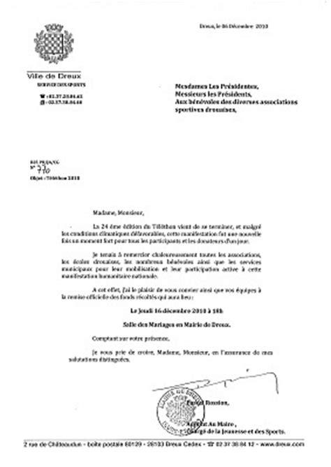 Lettre De Remerciement Militaire Les Maratouristes Dreux 28 T 233 L 233 Thon Les Remerciements De La Ville