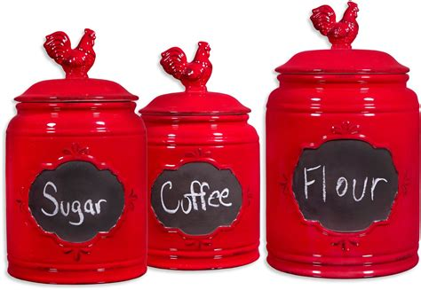 kitchen canister sets red rooster red set of 3 ceramic kitchen canisters