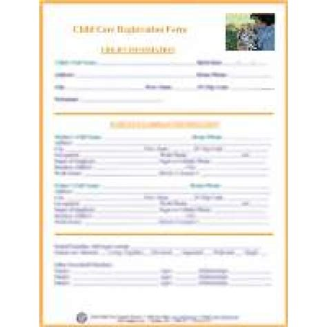 child care enrollment form template registration form