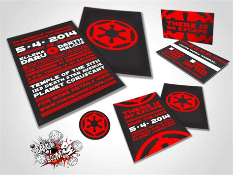 boom pow there is no escape wars themed wedding invitations