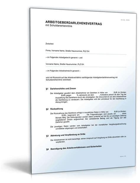 arbeitgeberdarlehensvertrag mit schuldanerkenntnis