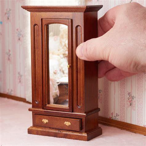 wooden doll armoire dollhouse miniature walnut wood armoire bedroom