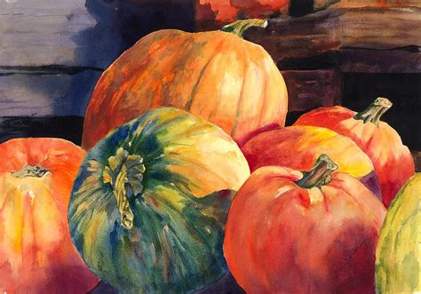 pumpkin paintings pumpkins and green pumpkin painting by hilda vandergriff
