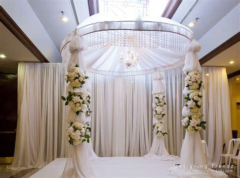 all white mandap, fabric and floral mandap, round mandap