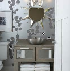 Silver Bathroom Silver Leaf Wallpaper Contemporary Bathroom Kohler