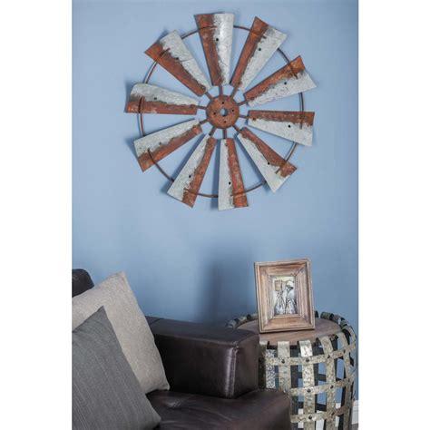30 in rustic brown wheel shaped iron wall decor 84201