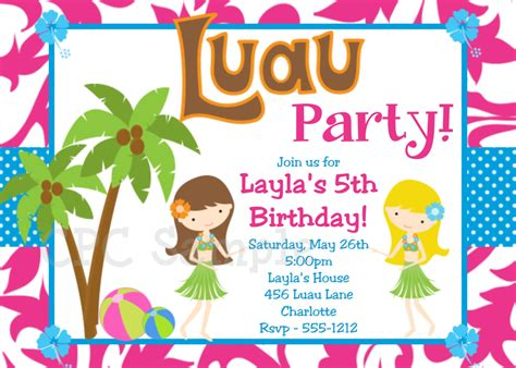 luau birthday invitation hawaiian by cutiestiedyeboutique