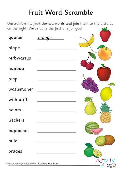 fruit unscramble fruit word scramble