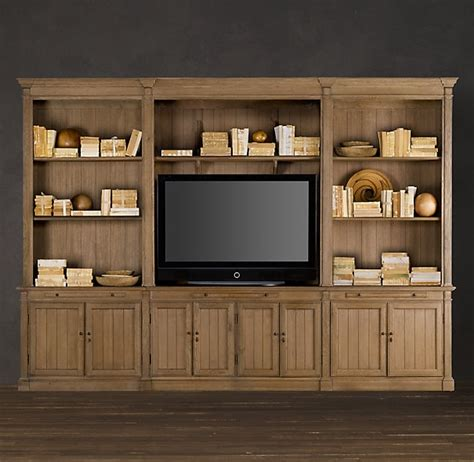 library bookcase wall unit restoration hardware large library media system 95 quot media wall units