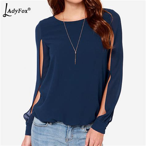 Now Blue Butterfly Sleeve Split Neck Blouse 2014 new blusas femininas navy blue neck split sleeve blouse chiffon tops