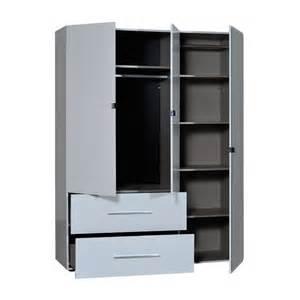 armoire dressing 3 portes 2 tiroirs laqu 233 blanc uno