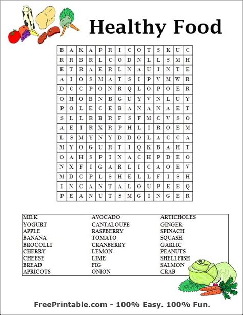 printable word search nutrition food word search for kids printable word search puzzle