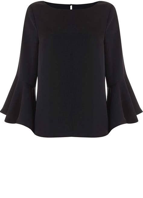 schwarze decke black fluted sleeve top new in mintvelvet
