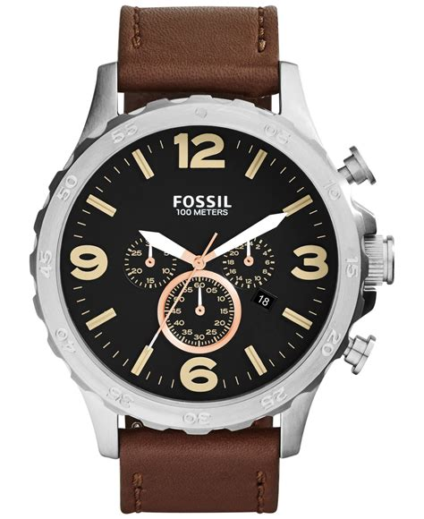 fossil s chronograph nate brown leather