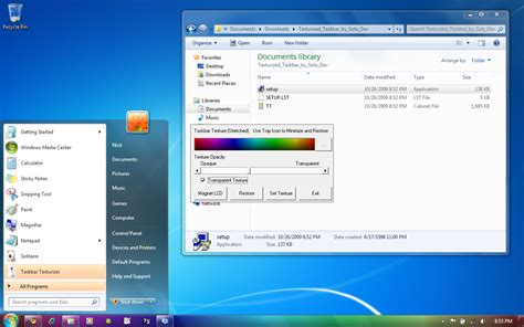 windows 7 start bar on top texturize windows 7 taskbar