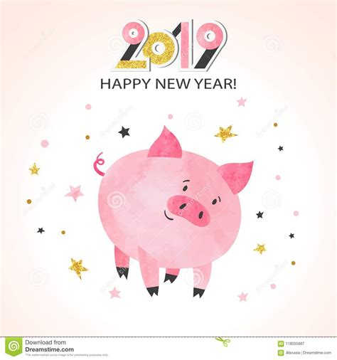 clipart buon anno cartolina d auguri 2019 buon anno maiale sveglio dell