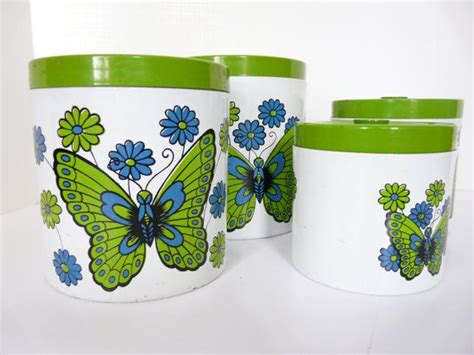 kitchen canister sets kitchen pinterest canister retro butterfly kitchen canisters set of four retro