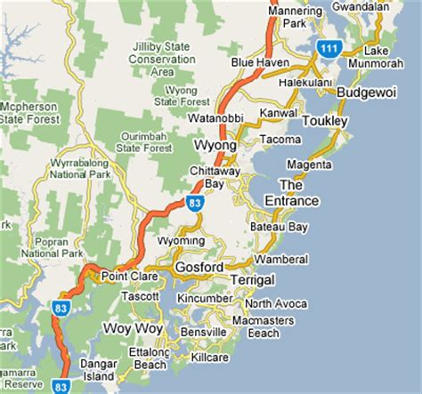 map of nsw central coast settling in