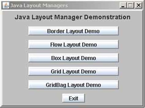 layout manager and types in java cs 221