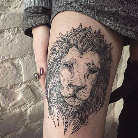 lion tattoo on thigh fantastic gray and white on thigh