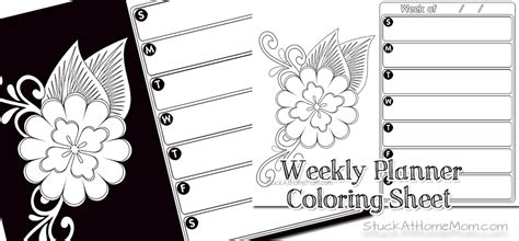 coloring book planner free weekly planner color page printout calendar