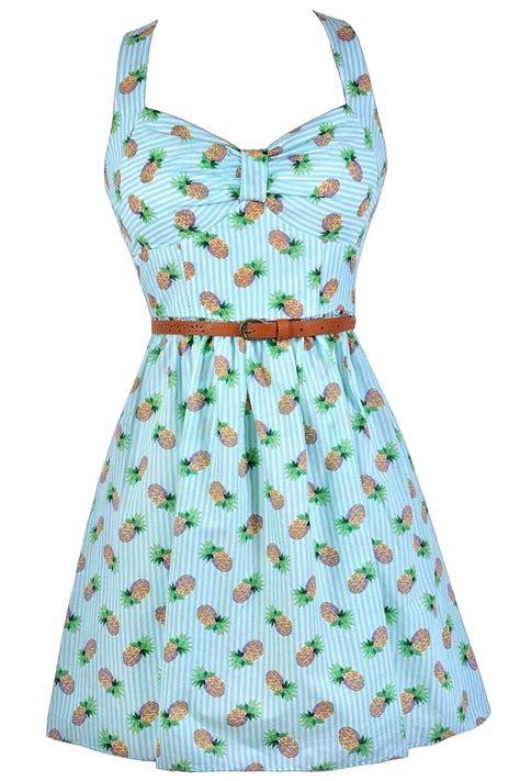 Dress Pineapple pineapple print dress pineapple stripe dress retro