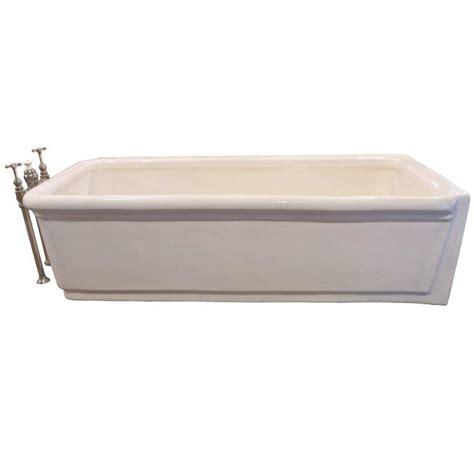 pristine porcelain bathtub with original nickel plated